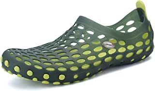 Men's Shoes-Women and Men's Outdoor Walking Clogs Sandals Hollow Vamp Water Shoes Up To Size 45EU Quality (Color : Green, Size : 44EU)