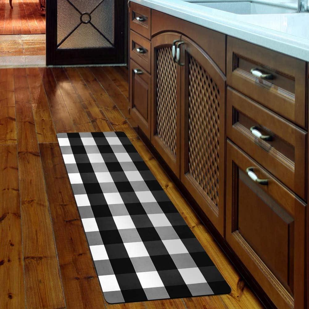 Amazon Com Ustide Buffalo Plaid Check Kitchen Runner Rug 20 X59 Black White Laundry Room Rug Rubber Back Nonslip Floor Mat Kitchen Mat Kitchen Dining