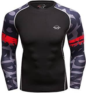 JJLIKER Men's Compression Baselayer Tops Thermal Long Sleeve Shirt Cool Dry Fit Workout Athletic Sport Running Shirt