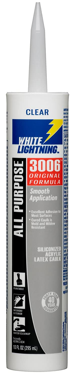 White Lightning W12001010 3006 All Purpose Adhesive Caulk, Clear, 10 OZ