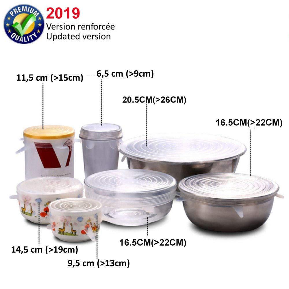 Reutilizable Fundas Protectoras para Alimentos Tapa Tazas 6 tama/ños de Diferentes tama/ños Tapas de Silicona para Alimentos Unique Store Tapas de Silicona el/ásticas Boles o Tarros,Sin BPA