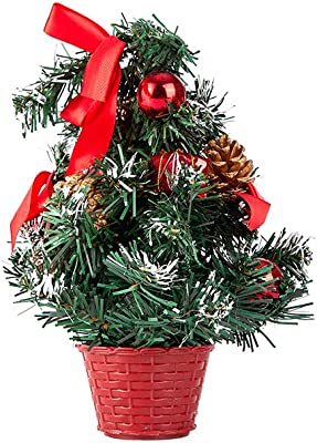 """Yahpetes Christmas Trees 11.81"""" Mini Tabletop Christmas Tree Red Artificial Xmas Trees with Base for Desk Table Tops Christmas Decoration Perfect for Your Home or Office (11.81"""", Red)"""