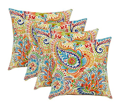 RSH Décor Indoor Outdoor Set of Throw/Toss Pillows ~ Bright Primary Color Thin Line Floral Paisley - Choose Quantity (4)