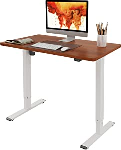 Flexispot EC1 Adjustable Height Desk 42 x 24 Inches Small Desk for Small Space Electric Sit Stand Home Office Table Standing Desk Classic (White Frame + 42 inch Mahogany Desktop)