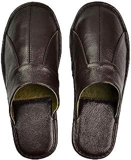 Department Store - Pantofole da uomo fatte a mano in pelle bovina 2020, morbide e confortevoli, colore: marrone nero, in p...