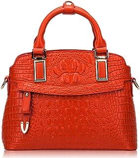 New Fashion Simple Multi-function Large Capacity Shoulder Bag Shoulder Slung Leather Handbag,Delicate Lining Boutique (Color : Orange)