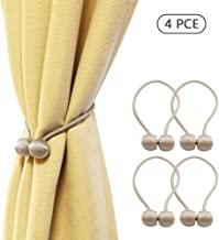 Zero Factory Magnetic Curtain Tiebacks-4 PCE,Made of natural wood,Required Suitable for Window Drapery Kitchen Office Indoor Outdo,The most convenient curtain buckle