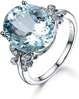 Meolin Rhinestone Butterfly Ring Natural Topaz Stone Crystal Engagement Ring Charm Gemstone Ring Women Jewelry (Size/ 6/7/8/9/10),Sea Blue,Size 10
