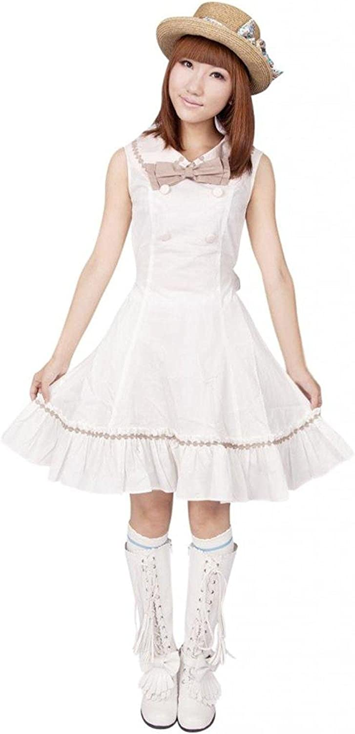Cemavin Womens White Pintuck Sleeveless Bow Double Breasted Cotton Classic Lolita Dress