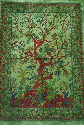 WORLD WIDE KART árbol Indio de Cartel de la Vida Verde de algodón teñido Anudado de los pájaros del Amor Colgar d