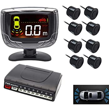 LED Display Car Rearview Reverse Radar System with 8 Parking Sensors, Sizet Front and Rear Parking Buzzer Beeps + LED Distance Display