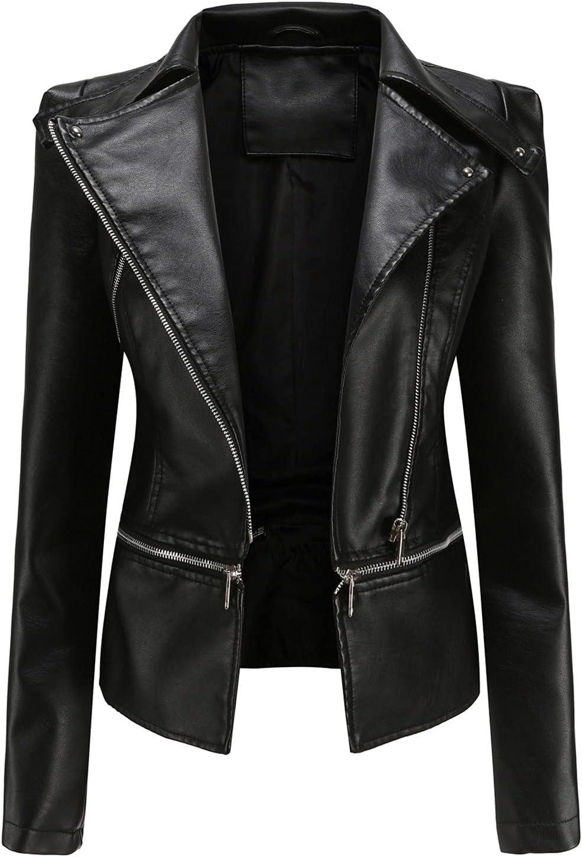 Women's Turndown Collar Removable Faux Leather Jacket Zipper Motorcycle Jacket Slim Moto Biker Outwear