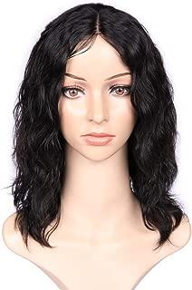 WIGNEE 100% Virgin Human Hair Natural Wave Wigs Lace Part Brazilian Human Hair Wave Wigs Middle Part Wig Natural Black Color(12 Inch lace part no bangs)