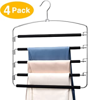 HOUSE DAY Pants Hangers 5 Layers Space Saving Pants Hangers with Stainless Steel Non-Slip Foam Padded Swing Arm Closet Storage Organizer for Pants Jeans Trousers Skirts Scarf Ties Towels (4 Pack)