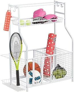 mDesign organiseur pour vos accessoires de sport, de bureau etc. - rangement en métal polyvalent avec 4 crochets et 3 pani...