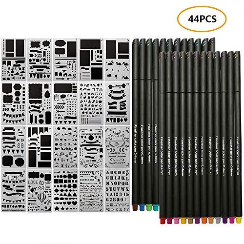 Juego de 44 Journal Plantillas y Rotuladores de Punta Fina de Punta Redonda Para Dibujar, Dibujar, Anotar y Colorear Libros