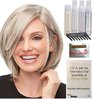 Bundle - 8 items: Kristi Wig by Jon Renau, Christy's Wigs Q & A Booklet, 2oz Travel Size Wig Shampoo, Conditioning Spray, Flexible Spray, HD Smooth, Wide Tooth Comb & Wig Cap - Color: 32F