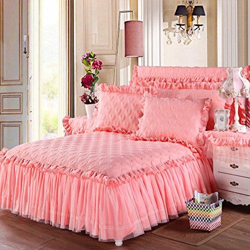 chenyu Parure de lit matelassée en coton épais Motif cœurs Rose clair 180 x 220 cm