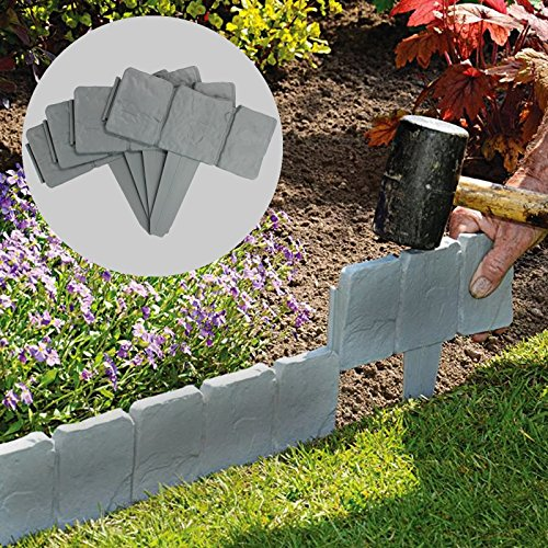 5M Grey Stone Effect Lawn Edging | Plant Bordering | Cobblestone Garden Border | Flower Bed & Grass | 20 Pieces | Pukkr