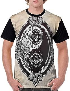 BlountDecor Unisex T-Shirt,Monochrome Chinese Motif Fashion Personality Customization