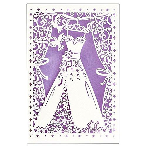 Hochzeitskarte | 12 cm x 18 cm | Mit farbigem Einleger & Umschlag | Grußkarte für Hochzeit | Glückwunsch-Karte | Motiv: Brautkleid, Vermählung, Hochzeitskleid (Design 5)
