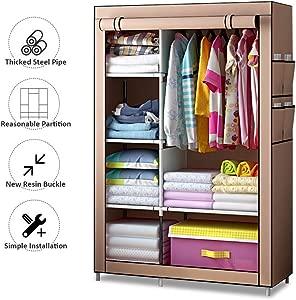 Electz Falt Material Cabinets Non-Woven Fabric  Wardrobe Closet Folding Cabinet with Zipper Fabric Wardrobe Wardrobe with Clothes Rail Brown