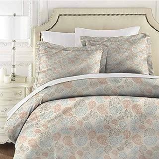 Camel Color Queen Size Sheet Set-3 Piece Set,Bedding Set Bedding Set Full Ornate Seashells Mosaic Breathable, Hypoallergenic Washed Microfiber