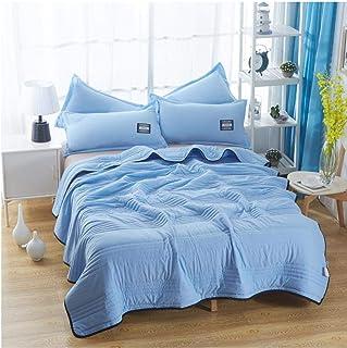 Cuadros Colcha de Verano Colcha Manta Edredón Funda de Cama Acolchado Textiles para el hogar Colcha Fina Adecuada-Azul_180 * 200cm 1.3kg