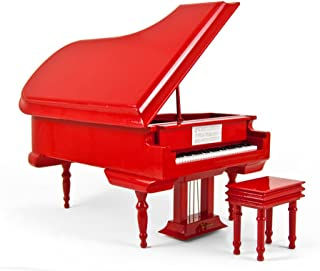 Sophisticated 18 Note Miniature Musical Hi - Over 400 Song Choices - Gloss Fire Engine Red Grand Piano with Bench You Light Up My Life