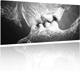 GOUPSKY Kiss Canvas Painting Black and White Picture Frames Romantic Kissing Couple Wall Art Decor Giclee Print Artwork 16X24 inch Stretched and Framed Ready to Hang