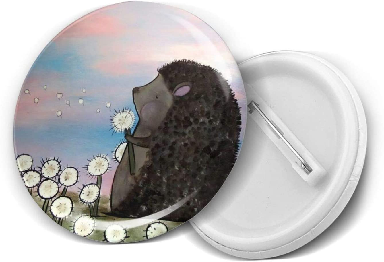 Cute Fat Hedgehog Dandelion Animal Gift Nov Themed Circle Max 43% OFF Badges At the price