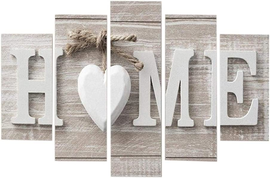 Newfly Canvas Wall Art Print - 5Pcs Concise Wall Paintings Fashion Art Without Frame - Love Sanctuary Art White Home Sweet Heart Modern Canvas Pictures Photo Wall Decor Home Decorative