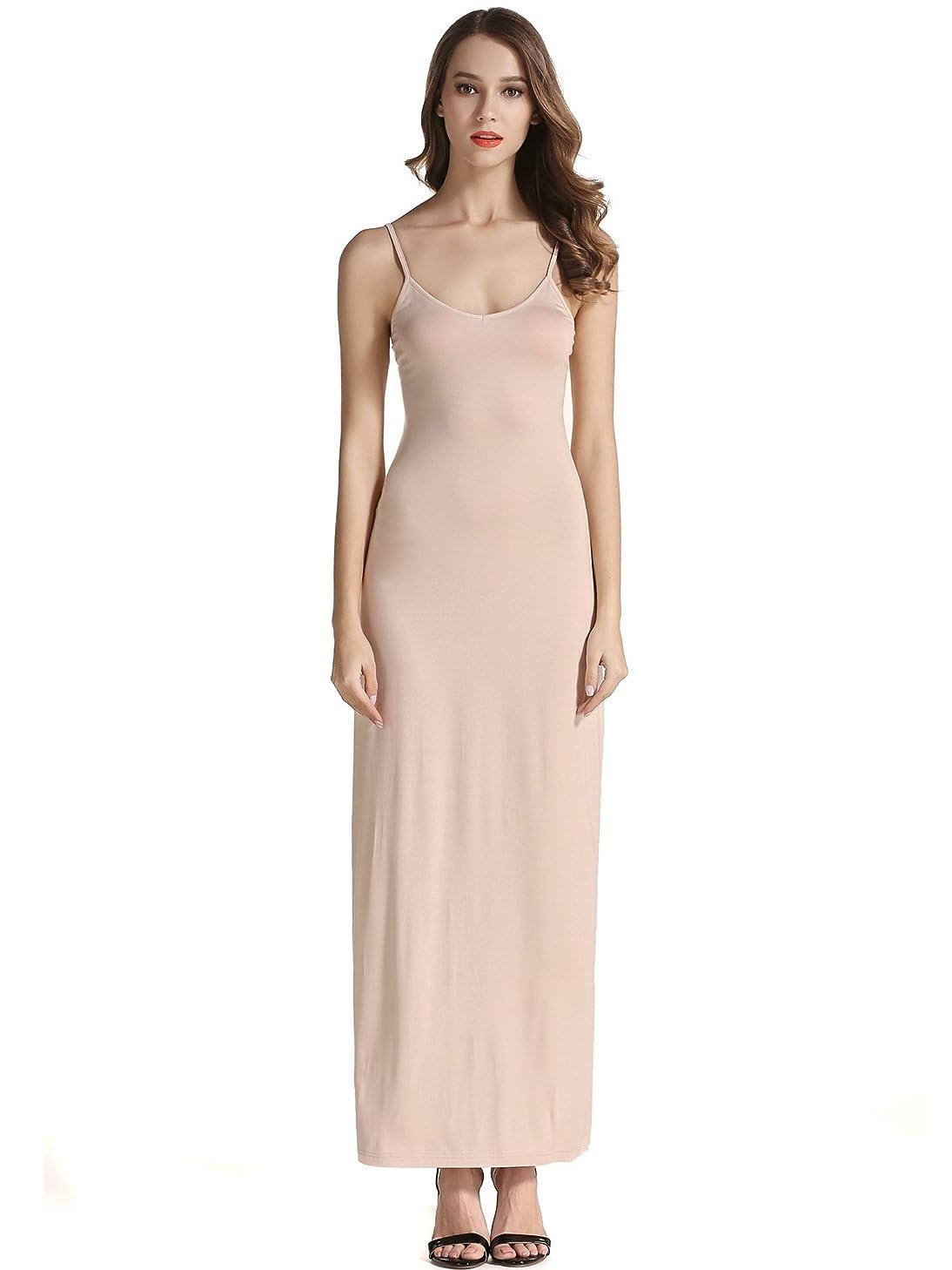 VETIOR Women's Adjustable Spaghetti Straps Long Cami Slip Dress