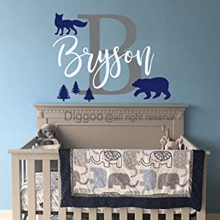 Woodland Wall Decal Personalized Name Decal Forest Pine Trees Fox Bear Vinyl Wall Decal Woodland Nursery Decor (14