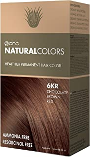 ONC NATURALCOLORS 6KR Chocolate Brown Red Healthier Permanent Hair Color Dye 4 fl. oz. (120 mL) with Certified Organic Ingredients, Ammonia-free, Resorcinol-free, Paraben-free, Low pH, Salon Quality,