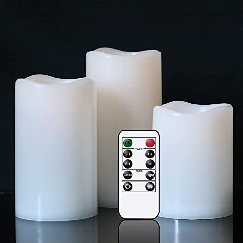 """2021 Eldnacele Flameless Flickering Waterproof Outdoor Candles with 10-Key outlet online sale Remote, All Weather Battery Operated LED Pillar Candles, sale Heat Resistant Plastic Candles Indoor Outdoor Lanterns D3""""xH4"""" 5"""" 6 outlet online sale"""