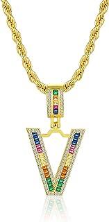 TCHYUN Collection Polished Gold Plated Alphabet Bracha Cursive Dainty Initial Asymmetrical Pendant Letter Necklace Sale Ch...