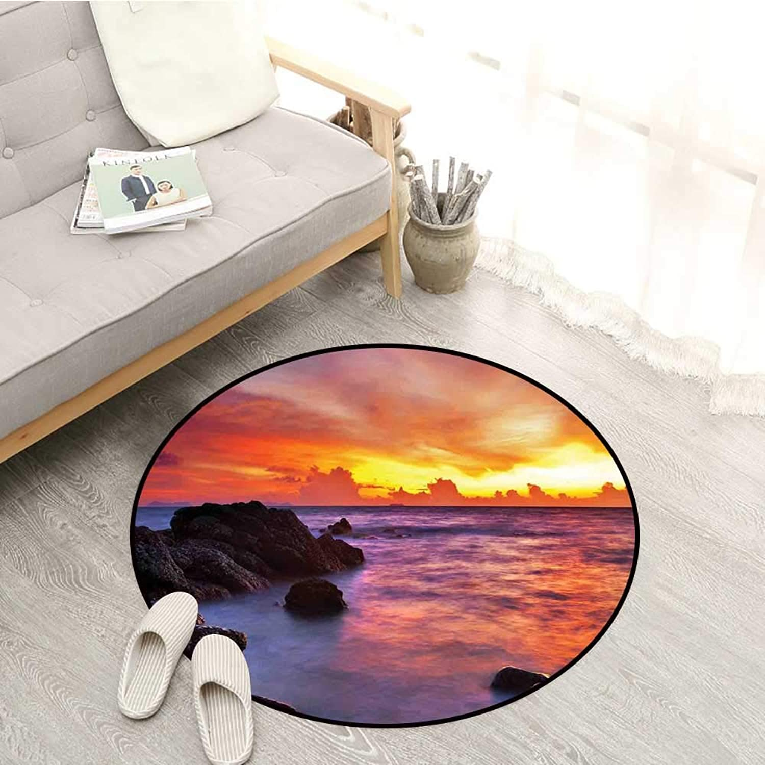 Coastal Decor Living Room Round Rugs Tropical Beach Sunset golden Clouds Stones Calm Sea Summer Seaside Scene Sofa Coffee Table Mat 4'3