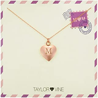 Taylor & Vine Mom Love Letter Initial Necklace Heart Pendant Engraved Love You Mom Rose Gold Tone 16