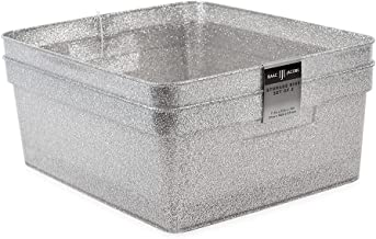 "Isaac Jacobs Medium Glitter Storage Bin (14"" x 11.5"" x 5.5"") Set w/Cut-Out Handles, Plastic Organizer, Multi-Functional, H..."