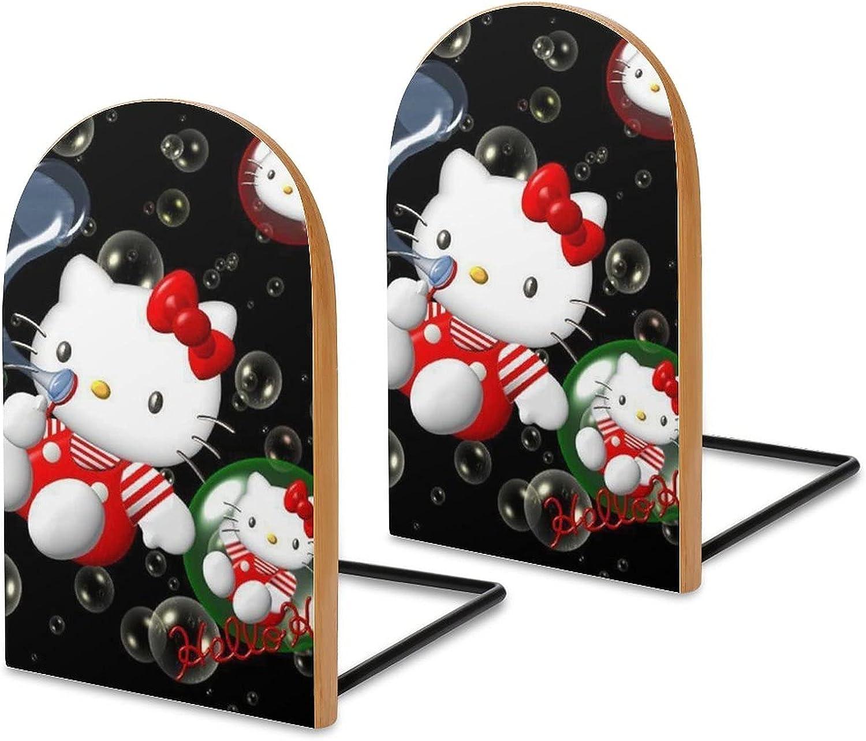 KRISMARIO Hello Kitty Black 2pcs Heavy Wood Logs Bookends Modern