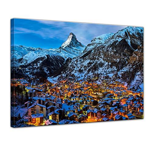 Bilderdepot24 Bild auf Leinwand | Zermatt am Matterhorn in 40x30 cm als Wandbild | Wand-deko Dekoration Wohnung modern Bilder | 211437