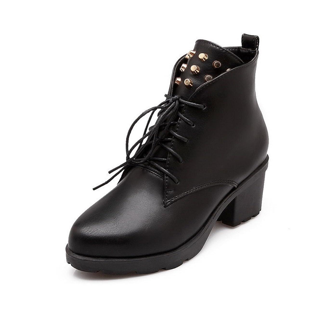 遺伝子トリクルシャット(オールエイチキューファッション) AllhqFashion レディース レースアップ ポインテッドトゥ 中ヒール 混合材料 純色 ブーツ