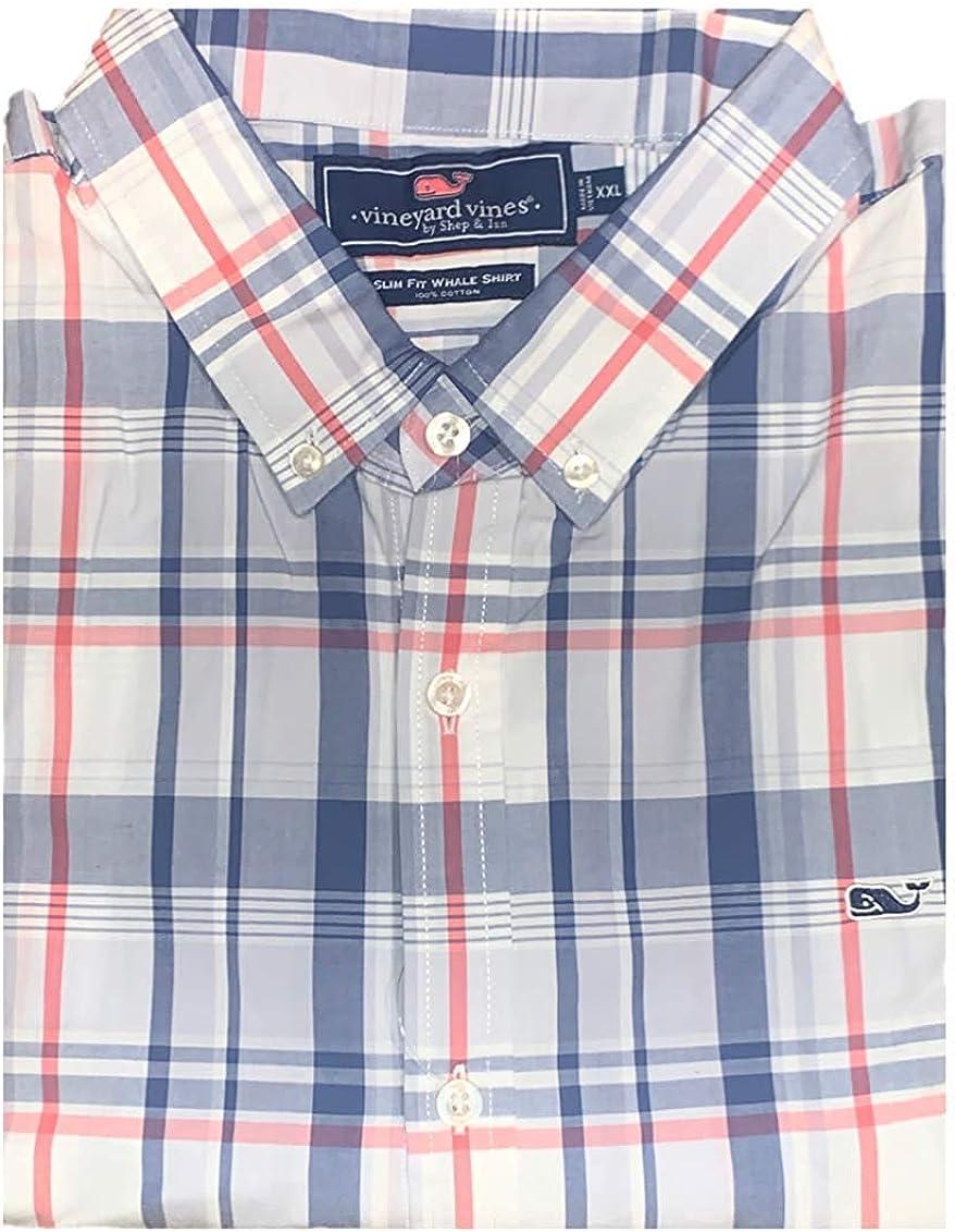 Vineyard Vines Men's Slim Fit Whale Shirt Button Down Dress Shirt - Biras Creek Plaid (X-Small, Flag Blue)