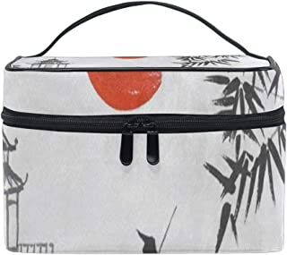 Makeup Bag Traditional Japan Mountain Bamboo Sun Landscape Cosmetic Bag Portable Large Toiletry Bag for Women/Girls Travel