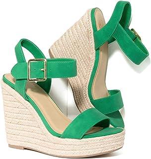 24832e605d77 Unique Vintage Emerald Nubuck   Braided Espadrille Platform Wedge Sandals