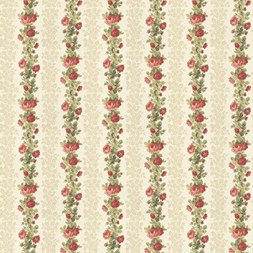 MyTinyWorld 5 Stück Puppenhaus rot Kletterrose Streifen Tapete Blätter