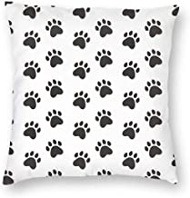 Mascin Throw Pillow Case Black Paws Pet Background Pattern_1970 Cushion Covers for Chair 12x12 inch