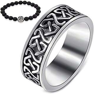 Gungneer Celtic Knot Stainless Steel Ring Celts Vintage Irish Eternal Love Strength Jewelry US Size 7-13