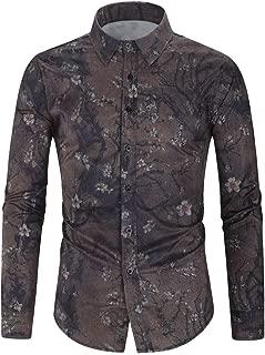 FONMA Men's Autumn Winter Casual Blouse Collar Button Shirts Print Long Sleeve Top